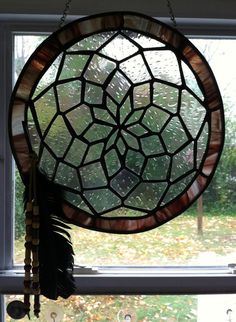 Native American Stained Glass Patterns | Native American Stained Glass Dream Catcher by GrammysGlassGarden