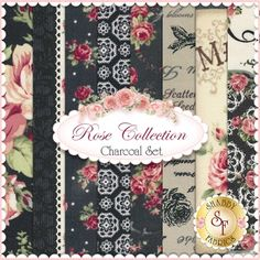 Rose Collection 8 FQ Set - Charcoal by Quilt Gate Fabrics: Rose Collection is by Quilt Gate Fabrics. This set contains 8 fat quarters, each measuring approximately 18
