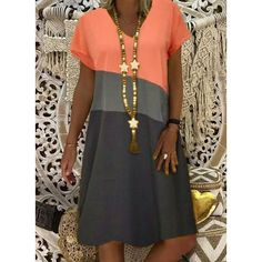 Cotton Blends YES General Orange Day Dresses Casual Summer A-line Dress V-Neckline Fall S Color Block M Short Sleeve Knee-Length Types Of Dresses, Short Sleeve Dresses, Dresses For Work, Short Sleeves, Dresses With Sleeves, Long Sleeve, Floryday Vestidos, Simple Summer Dresses, Winter Dresses