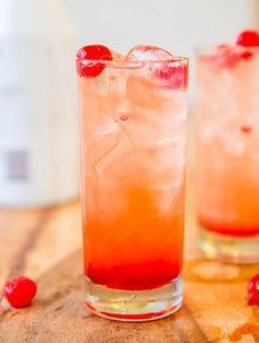 Malibu Sunset by averiecooks: Pineapple and orange juice, coconut rum, grenadine, and cherries. #Cocktails