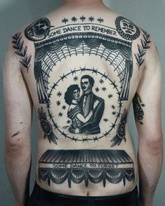 """Some Dance to Remember, Some Dance to Forget"" - Gorgeous black and grey American Traditional back piece, complete with a theatre stage  dancing couple. (Phillip Yarnell)"