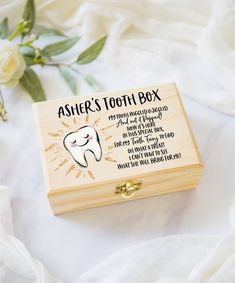 Tooth Fairy Box for Kids Tooth, Personalized Wooden Baby Teeth Box for Kids Tooth Fairy Tooth Fairy Receipt, Tooth Fairy Box, Tooth Box, Tooth Pillow, Fairy Jars, Fairy Crafts, Dollar Store Crafts, Kids Boxing, Wedding Signs