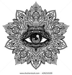 All seeing eye in ornate round mandala pattern. Mystic, alchemy, occult concept. Design for music cover, t-shirt , boho poster, flyer. Astrology,…