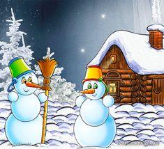 Снеговички и птичка - анимационные картинки и gif открытки