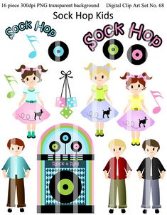 Buy 2 GET 1 FREE - 50s Sock Hop Kids Clip Art Set for personal and commercial use 68