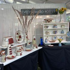 """Evelyn Ward on Instagram: """"All set up at the @pottersmarketatthemint show in Charlotte. Come see me at booth 44 ##pottery#ceramicstudio #clay #functionalceramics…"""" J Ward, Show Booth, Retail Merchandising, Ceramic Studio, Booth Ideas, Come And See, Craft Fairs, Charlotte, Pottery"""