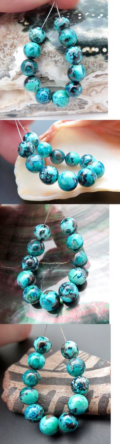 Other Loose Gemstones 282: 11 Beautiful Aaaa+ Peruvian 5.8-6.3Mm Blue Chrysocolla Round Beads - 16.8Cts -> BUY IT NOW ONLY: $34 on eBay!