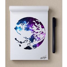 Art by Muhammed Salah Galaxy Painting, Galaxy Art, Art Inspiration Drawing, Art Inspo, Cute Drawings, Drawing Sketches, Globe Art, Stencil Art, Watercolor And Ink