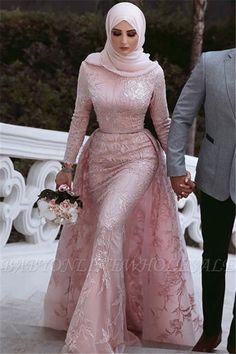 Elegant Pink Over Skirt Mermaid Prom Dresses Long Sleeves Lace Evening Dresses Item Code: Muslim Prom Dress, Hijab Prom Dress, Muslimah Wedding Dress, Muslim Wedding Dresses, Hijab Bride, Muslim Brides, Wedding Hijab, Muslim Couples, Muslim Gown