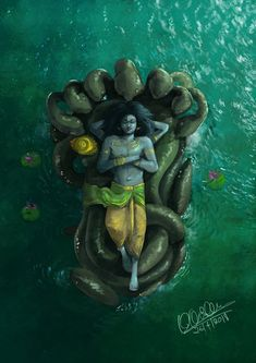 "48211892 desihabits: ""'Sheshashayana' 40 minutes of unfinished painting by Karan Acharya "" (With images) Indian Art Paintings, Lord Vishnu, Lord Krishna Wallpapers, Lord Hanuman Wallpapers, Lord Vishnu Wallpapers"