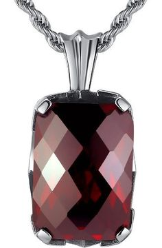 Arco Iris Jewelry – Joya hecha de acero inoxidable Colgante con cadena de 2.4mm de cuerda con adorno en forma de lazo – color rojo – detalle de Zirconia cúbica – – estilo vintage – Talla