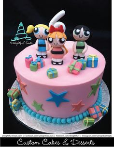 PowerPuff Girls Birthday Buttercream Cake with Fondant Blossom Bubbles and Buttercup.