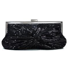 Elegant Sequins Clutch Purse   Evening Party Bag Handbag (Black) Black baccd592774c
