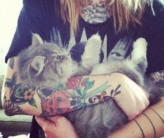 Beautiful cat + tattoos.