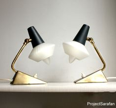 Project Sarafan - Pair of Quirky Midcentury Bedside Lamps with Glass Lampshades, Gray and Brass Detail. Atomic.