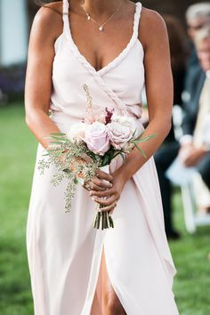 Blush braided bridesmaid gown: http://www.stylemepretty.com/new-jersey-weddings/spring-lake-new-jersey/2016/07/08/were-majorly-crushing-on-this-brides-ombre-blush-petal-covered-wedding-dress/ | Photography: Christina Lilly Photography - http://www.christinalilly.com/