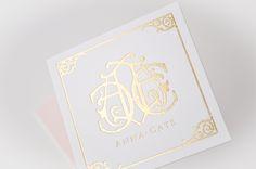 Emily McCarthy Branding Design | Anna Cate Gold Foil Duplexed Business Card