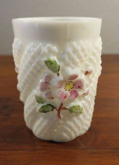 Antique Consolidated Glass Apple Blossom? Daisy? Pattern Tumbler #ConsolidatedLampGlassCompany