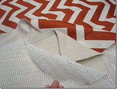 DIY large area rug - gripper pad, drop cloth, fabric (cheap for a large rug!)