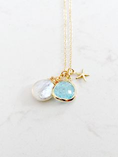Aquamarine Necklace With Coin Pearl,14k Gold Filled,Starfish Necklace,Aquamarine Jewelry,March,June,Birthstone Necklace,Personalized Jewelry by LetItBeLove on Etsy