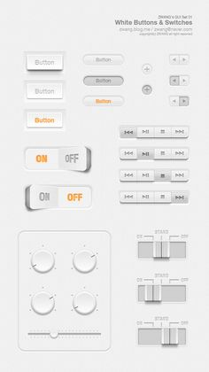 ZWANG's GUI set 01 - White buttons & switches