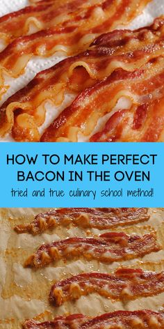 How to Cook Bacon in the Oven (Culinary School Method) (Baked Bacon - Food and drinks interests Make Bacon In Oven, Perfect Oven Bacon, Crispy Bacon In Oven, Oven Baked Bacon, Bacon Bacon, How To Bake Bacon, Recipe For Baked Bacon, Meals With Bacon, Microwave Bacon