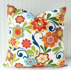 Floral Pillow Cover -  Throw Pillow -  Decorative Pillow Red, Blue, Green, Orange, Yellow Floral Toss Pillow  Accent Pillow 20x20 inches on Etsy, $19.00
