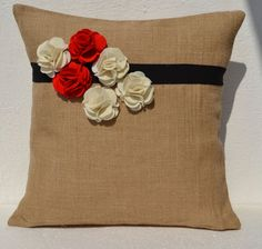 Burlap pillow cover with red white flower