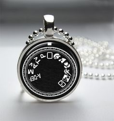 Camera Mode Dial Black and White - 1in Circle Glass Bezel Pendant