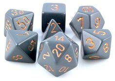 RPG Dice Set (Dusty Gray) role playing game dice + bag