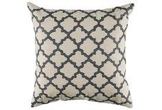 Clover 18x18 Cotton Pillow, Gray on OneKingsLane.com