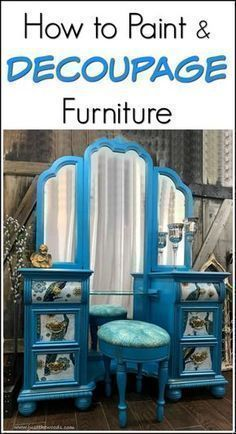 Learn how to paint and decoupage furniture with this gorgeous painted vanity project. Painted furniture with peacock fabric decoupaged to the drawers. #decoupagefurniture #paintedfurniturefabric