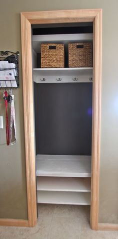 Through the Front Door: entry closet remodel. Really need to do something like this. Our closet is small and messy! Something like this would be nice..