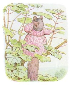 "'The Tale of Timmy Tiptoes', 1911 -- Beatrix Potter. ""Goody Tiptoes passed a lonely and unhappy night. Next morning she ventured back to the nut-bushes to look for him."""