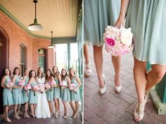mint bridesmaid dresses, pink bouquets // photo by Katelyn James Photography
