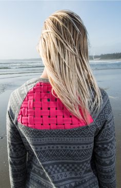 back weave lets the sea breeze in after sweaty gym class.   Breeze Way Crewneck