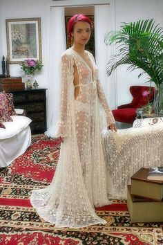 Embroidered French Lace Bridal Robe Sarafina Dreams 20's Inspired Heirloom Collection Wedding Lingerie on Etsy, $225.00