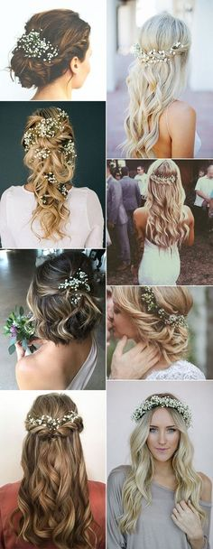 Check it out pretty wedding hairstyles with baby's breath The post pretty wedding hairstyles with baby's breath… appeared first on Iser Haircuts . pretty wedding hairstyles with baby's breath Wedding Hair Flowers, Wedding Hair And Makeup, Flowers In Hair, Hair Makeup, Hair Wedding, 2017 Wedding, Dress Wedding, Bridesmaid Hair With Flowers, Formal Wedding