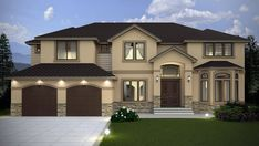This contemporary design floor plan is 4134 sq ft and has 4 bedrooms and has bathrooms. Contemporary House Plans, Contemporary Style Homes, Modern House Design, Contemporary Design, Classic House Exterior, African House, Exterior Makeover, Foyer Decorating, Mediterranean Homes