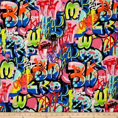 Alexander Henry Heart Beat Tag You're It Brite/Multi from @fabricdotcom  Designed by the De Leon Design Group for Alexander Henry, this cotton print fabric explores an urban downtown full of colorful graffiti. Perfect for quilting, apparel and home decor accents. Colors include black, white, red, yellow, chartreuse, green, lime green, orange and shades of blue and pink.