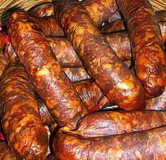 "Carnati de porc facuti ""la topor"" ca-n Bucovina, judetul Suceava, Bucovina. Salami Recipes, Meat Recipes, Cooking Recipes, Romania Food, Good Food, Yummy Food, Smoking Meat, Charcuterie, Food Inspiration"