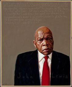 """I DECIDED TO GET IN TROUBLE -- """"When I heard the words of Dr. King, I knew then that I could strike a blow against segregation and racial discrimination, and I decided to get in trouble. I decided to get in the way. But it was good trouble, necessary trouble. Democracy is not a state. It is an act."""" - John Lewis [one of the """"Big 6"""" leaders of the 1960's movement, Congressman, still fighting for human rights at 72]  Portrait: Robert Shetterly"""