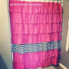Hey, I found this really awesome Etsy listing at https://www.etsy.com/listing/199767356/bright-pink-ruffle-shower-curtain-with