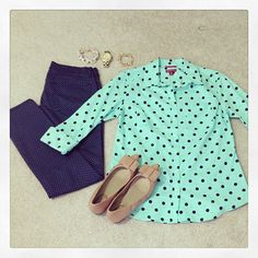 Polka dot jeans and mint shirt... I actually have this shirt and similar jeans!!!