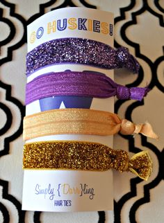 Purple & Gold Elastic Hair Ties... It's says GO HUSKIES, but it should really say GO LAKERS!