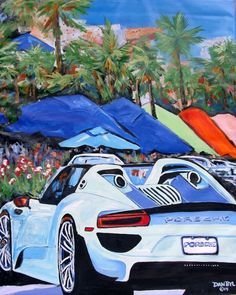 BEACH Porsche Original Art Deco PAINTING DAN BYL Modern Contemprary Large 4x5 ft #Impressionism Beach Canvas Paintings, Art Deco Paintings, Abstract Canvas, Wall Canvas, Black White Art, Car Painting, Large Art, Impressionism, Porsche