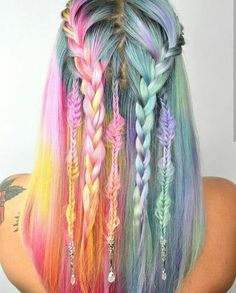 Rainbow pastel hair braids with accessories