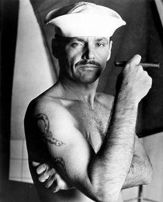 """Jack Nicholson Sporting a Moustache and Sailor Hat · Hal Ashby · from the movie """"The Last Detail"""""""