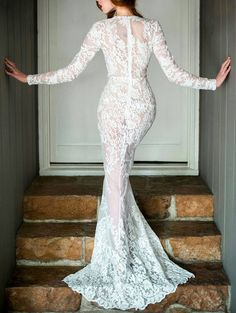 Plunging Neck Prom Long Sleeve Lace Dress
