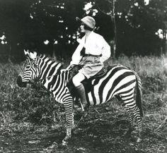 Style ist, wenn man in Shorts auf einem Zebra sitzt – steht in dem Bildband Tomboy über Frauen, die gern Männerkleider tragen (Rizzoli Verlag)    (c) The Martin and Osa Johnson Safari Museum, William Claxton – Demont Photo Management, Noa Azoulay-Sclatter